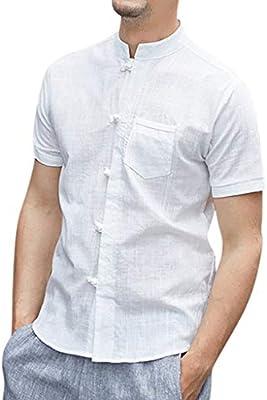 Mens Vintage Baggy Cotton Linen Solid Short Sleeve Retro T Shirts Tops Blouse