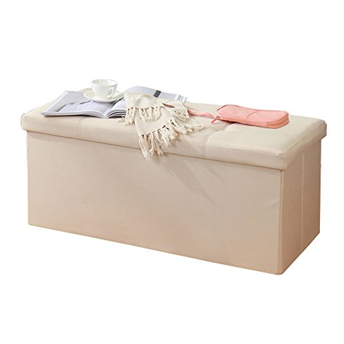 DlandHome Folding Storage Ottomans 30x15x15 inch, Durable Faux Linen, Storage Bench/Footrest/Padded Seat, ALL-2001-8 Beige, 1 Pack