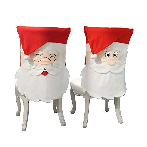Valery Madelyn 2 Pack Santa Claus Christmas Chair Covers, Chair Back Covers for Dinning or Kitchen Decorations
