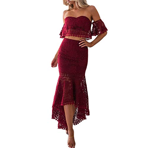 CHoppyWAVE 2Pcs/Set Women Solid Color Lace Short Sleeve Tube Top Irregular Bodycon Skirt Wine Red XL