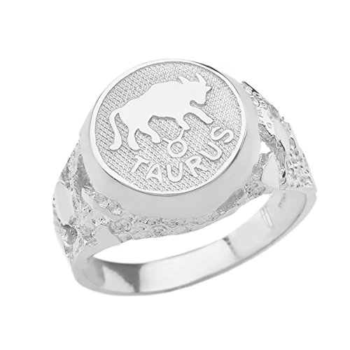 Solid 925 Sterling Silver Taurus Zodiac Sign Band Nugget Men's Ring (Size 11)