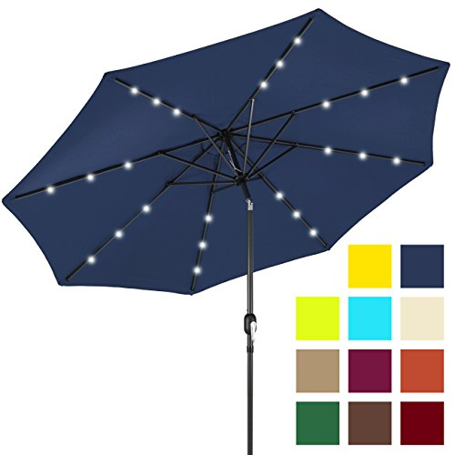 Best Choice Products 10ft Solar LED Lighted Patio Umbrella w/Tilt Adjustment - Navy Blue