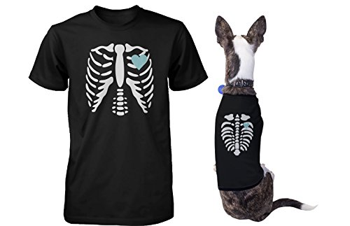 365 Printing Skeleton Matching Pet and Owner T-Shirts for Halloween Dog and Human Apparel]()