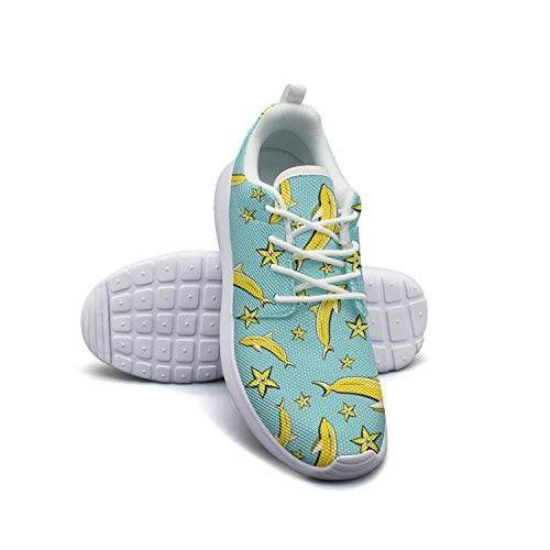 Women's Athleisure Sneakers Dolphin Yellow Banana Ultra Lightweight Breathable Mesh Christmas Fashion Shoes