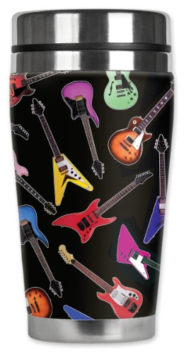 (Mugzie brand 16-Ounce Travel Mug with Insulated Wetsuit Cover - Electric Guitars)
