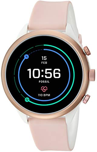 Fossil Women's Gen 4 Sport Heart Rate Metal and Silicone Touchscreen Smartwatch, Color:Blush Pink (FTW6022) (Fossil Watch Women Heart)