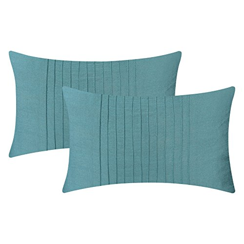 The White Petals Set of 2 Light Teal Lumbar Pillow Cover with Pin Tucks Panel (12X16 inches, Light Teal) ()