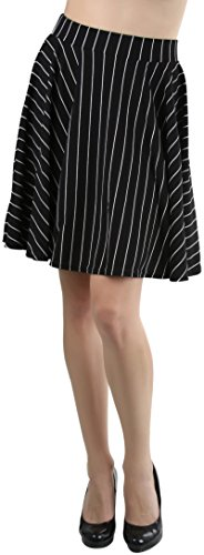 ToBeInStyle Women's Flared Mini Skirt - Vertical Striped - Black - M - Long