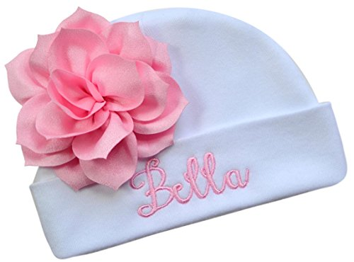 Funny Girl Designs Personalized Embroidered Baby Girl Hat With Lotus Flower Your Custom Name (White Hat/Pink Flower)