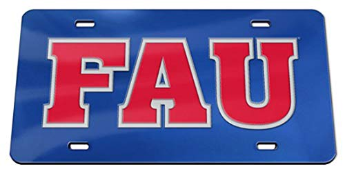WinCraft Florida Atlantic University FAU Owls Premium License Plate with Crystal Mirror Finish