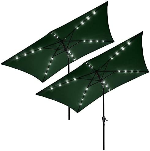 Yescom 10 x 6.5 Outdoor Rectangle Aluminum Solar Powered Patio Umbrella 20 LEDs Lights Crank Tilt Garden Pack of 2