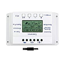 Y-SOLAR Solar Charge Controller 10A/20A/30A/40A Dual Timer with LCD Display For 12V/24V Solar Power System with 5V Mobile Charger (10A)