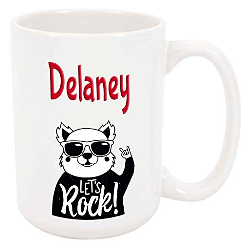 Delaney Let's Rock! - 15 Ounce Coffee or Tea Mug, White Ceramic, Unique Special Present or Gift Idea for Daughter Sister Girl Mother Friend Musician Rock Music