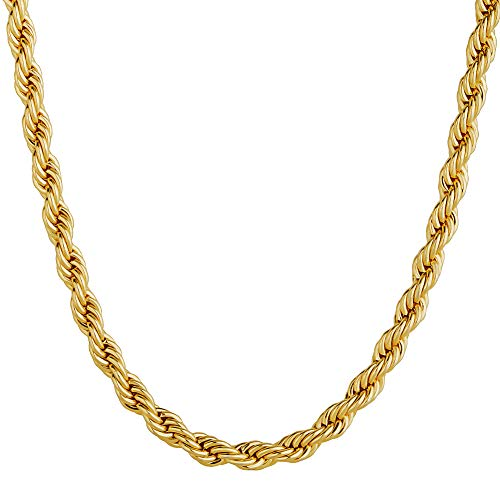KRKC&CO 3mm Rope Chain for Men Women 14k Gold Plated Chain Necklace Hip Hop Rapper Neckalce 20-24 inches (14K Gold, 22)