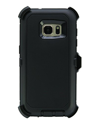 WallSkiN Turtle Series Cases for Samsung Galaxy S7 (Only) Tough Protection with Screen Protector & Kickstand & Holster - Shadow (Black/Black)
