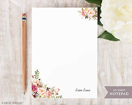 PAINTED FLORALS I NOTEPAD - Personalized Flower Stationery/Stationary 5x7 or 8x10 Note Pad