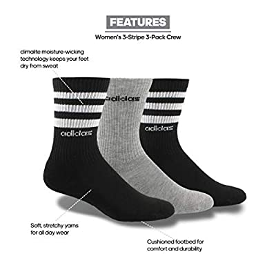 adidas Women's 3-Stripe Crew Socks (3-Pair), Black/White/Light Heather Grey, Medium, (Shoe Size 5-10): Clothing
