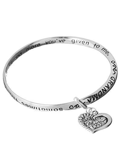 Jewelry Nexus Grandma Love Prayer Twist Engraved Bangle Bracelet & Heart Charm