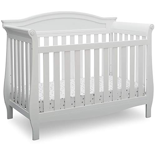 Infant Wood Crib - Delta Children Lancaster 4-in-1 Convertible Baby Crib, Bianca White