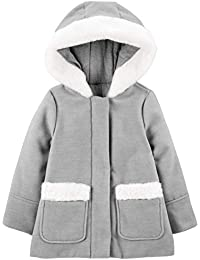 Toddler Girls' Hooded Felt Jacket with Faux Fur Trim