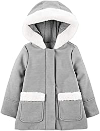 Toddler Girls Hooded Felt Jacket with Faux Fur Trim