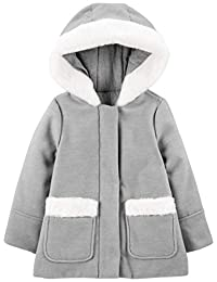Simple Joys by Carter's Toddler Girls' Hooded Felt Jacket with Faux Fur Trim
