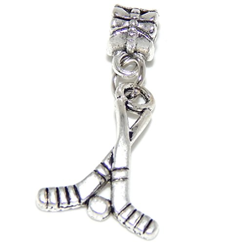 Memory Pandora Stick - GemStorm Silver Plated Dangling Hockey Sticks For European Snake Chain Bracelets