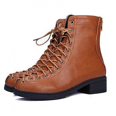 Up Runde Winter Schuhe Frauen Stiefel Casual RTRY EU37 Office CN37 Stiefeletten Stiefel 5 Frühling Für Chunky Ferse 7 Booties 5 Lace Amp; Kappe Mode 5 UK4 US6 Kunstleder Karriere 5CZvwvIx