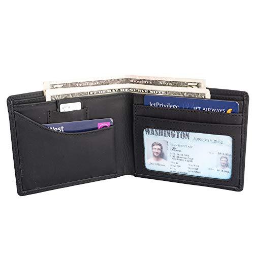 Minimalist Slim Bi-Fold Credit card wallet with 2 inner pockets inside partitions & RFID (Pocket Leather Like Partition Wallet)