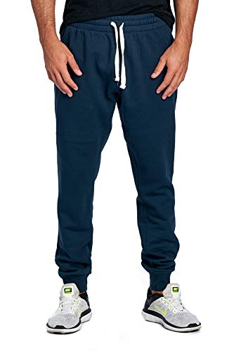 ProGo Men's Casual Jogger Sweatpants Basic Fleece Marled Jogger Pant Elastic Waist (Medium, Navy)
