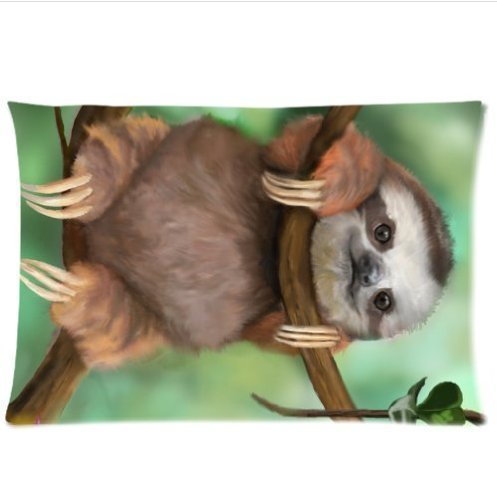 Fashion&Amp;Modern Sloth Holding The Branches Pillow Case 20X30 Inch Two Side Printing Custom Zipper Pillowcase -