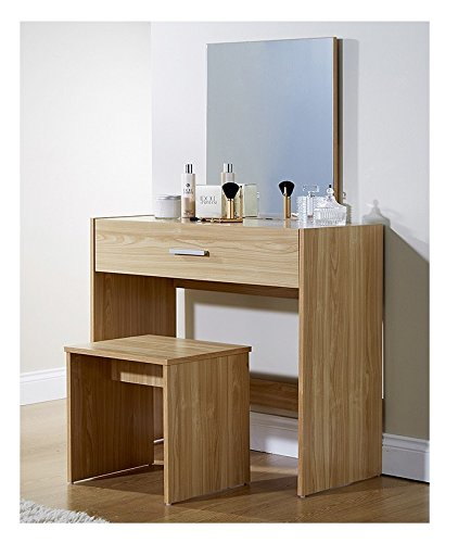Julia Oak Modern Contemporary Dressing Table Set Stool Mirror Storage Drawer Vanity Make Up Desk