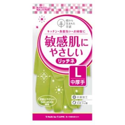【ケース販売】 ダンロップ 敏感肌にやさしい リッチネ 中厚手 L グリーン (10双×12袋) B07B2SNLHC