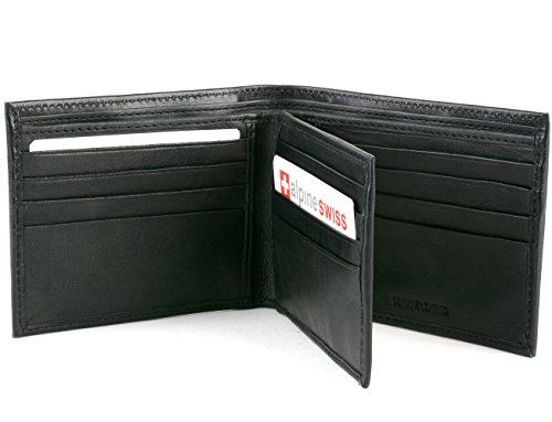 Men's Leather Wallet Euro Traveler Extra Capacity Bifold Center Flip ID Window Black (Money Clip Euro)