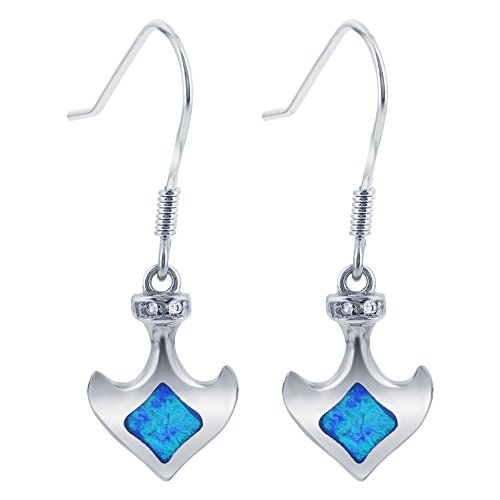 (925 Sterling Silver Anchor with Created Opal & CZ Drop Earrings with French Hook Findings)