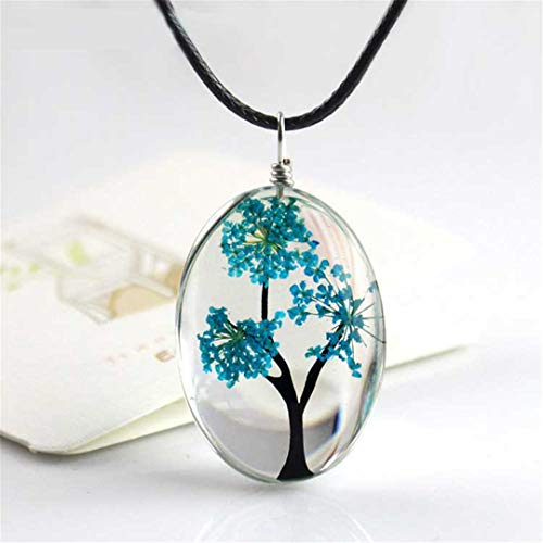 - Natural Dried Flower Pendant Necklace Handmade Tree Of Life Shaped Leather Rope Glass Long Necklace For Women Gift Light blue
