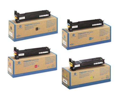 Konica Minolta MagiColor 5550 Toner Cartridge Set (OEM - High Yield) Black, Cyan, Magenta, Yellow (5570 Yellow Toner)