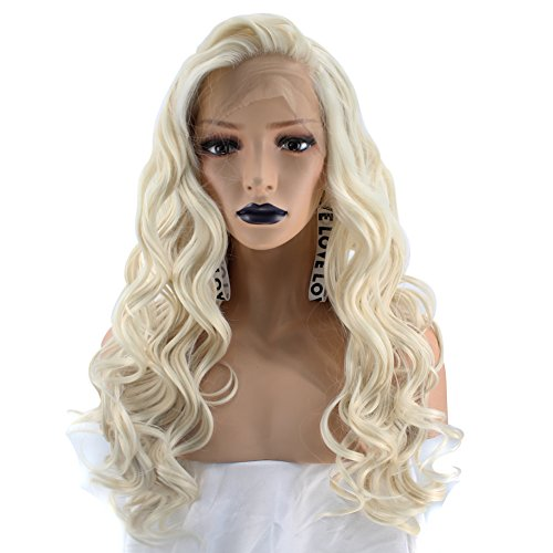 (Anogol Hair Cap+ 613 Platinum Blonde Wigs For Women Ash Blonde Lace Front Wigs Synthetic Long Wavy with Free Part Hair 22)