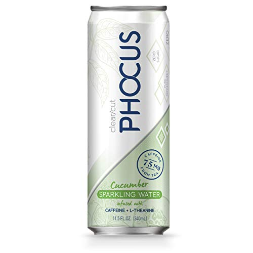 Phocus Caffeinated Sparkling Water, Cucumber, 11.5 ounces, 12-Pack (Best Sparkling Water In The World)