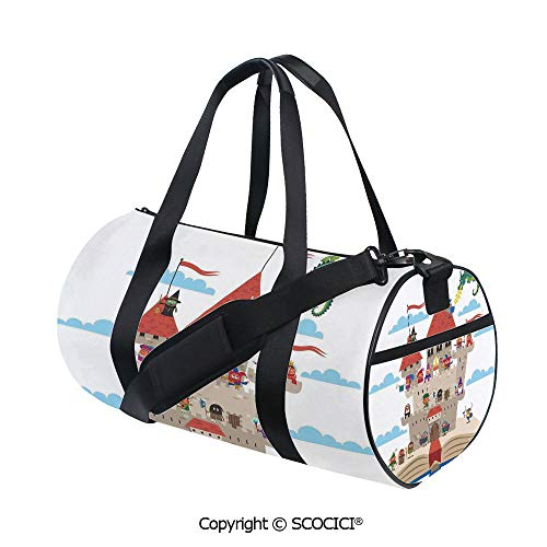 Unisex Cylinder Sports Bag,Fairy Tale Story Book Castle King Queen Princess Dragon Witch Knight Wizard Vikings Theme PrintBarrel Bag for Women and Men,(17.6 x 9 x 9 in)]()