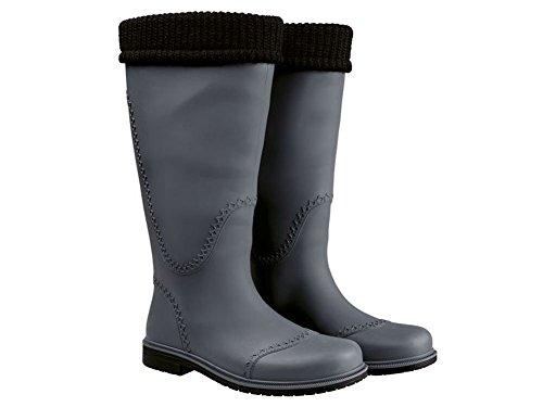Damen modische Langschaftstiefel Regenstiefel Gummistiefel Stiefel Arbeitsstiefel grau/schwarz Gr. 37