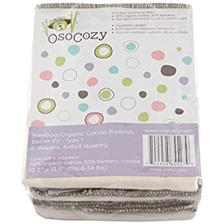 OsoCozy - Bamboo Organic Prefolds (6 Pack) - Ultra Soft, Bamboo Cotton Blend Baby Diapers - Eco-Friendly - Diaper Service Quality (DSQ) (7-15 lb.) (Infant Short 4x8x4)