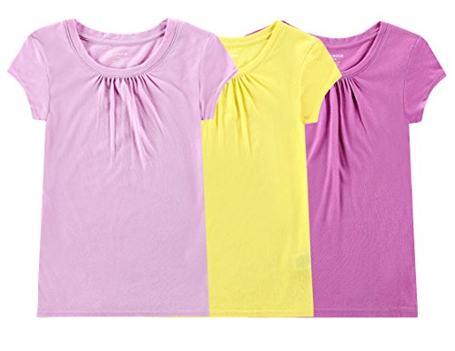 Price comparison product image Bienzoe Girl's School Uniform Anti-Microbial Breathable Quick-Dry Short Sleeve Crew Neck T-Shirt PackC 4 / 5