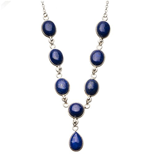 Lapis Lazuli Locket (StarGems(tm) Natural Lapis Lazuli 925 Sterling Silver Y-Shaped Necklace 18 3/4