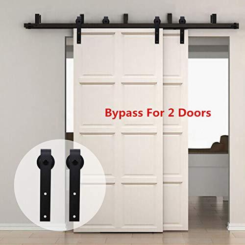 Kit de gu/ía para puerta corredera Bypass Ferreter/ía Polea de Rail suspendida sistema de puerta interiores en madera granero armario cuarto de 320cm negro 10.5FT
