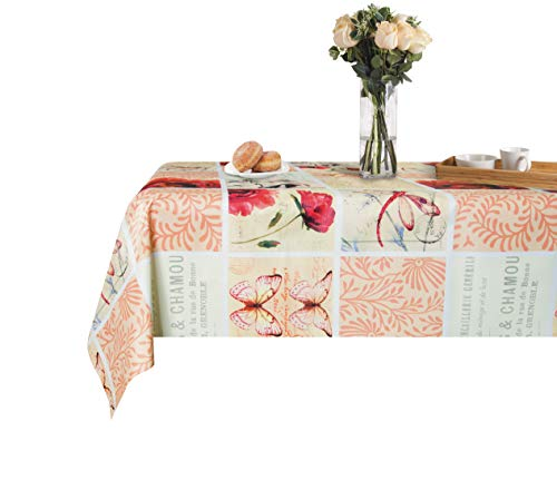 (Lavin Vinyl Tablecloth, Wipe Clean Table Cover Waterproof Heavy Duty Heat Resistance Rectangle Satin-Resistant Kitchen Home Decoration (Dragonfly 54x78inch))