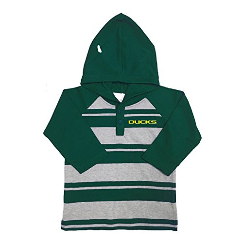 NCAA Oregon Ducks Toddler Boys Rugby Long Sleeve Hooded Shirt, Size 4, (Oregon Embroidered Long Sleeve)