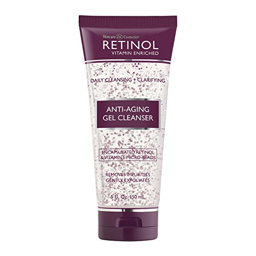 Retinol Anti-Aging Gel Cleanser - Gently Cleans Impurities From Pores & Exfoliates for Soft, Smooth Skin - Antioxidant-Rich Micro-Beads w/ Vitamin A & E Maximize Renewing Benefits Of Retinol (Retinol Vitamin Enriched Anti Aging Cream Cleanser)