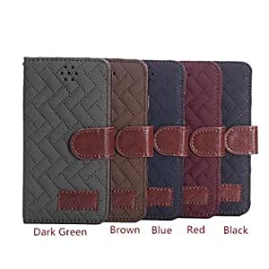 DDL Grid Pattern Full Body Leather Cover with Card Slot for iPhone 6 (Assorted Colors) , Red