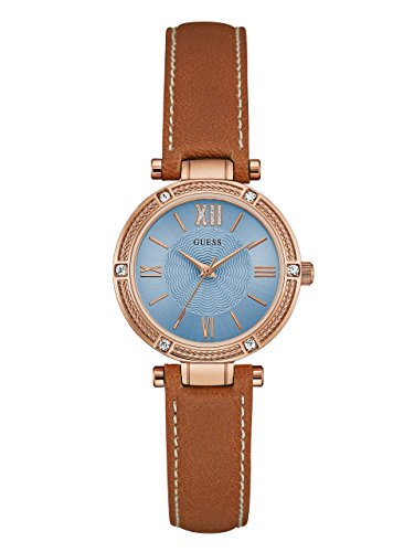 Guess Women's U0838L2 Dressy Rose Gold-Tone Watch with Blue Dial, Crystal-Accented Bezel and Genuine Leather Strap ()